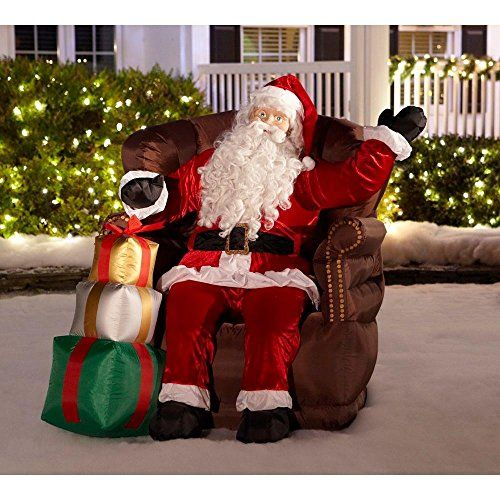 Christmas Inflatable Realistic Waving Santa Sitting In