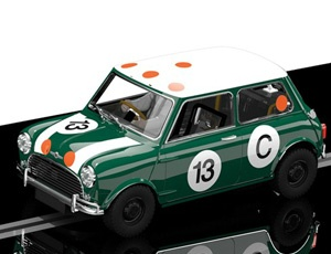 The Scalextric Classic Mini is part of the scalextric classic car collection a new release for 2012. This superb scalextric car has a detailed and realistic body shell, complete with working lights front and rear aswell as the standard magnatration for great racing and easy change pickups that allow you to get back to the track without any fuss at all.