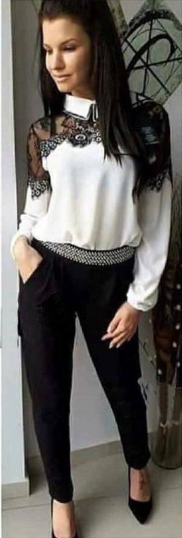 #winter #outfits white lace long-sleeved collared blouse, black pants, with pair of black pointed-toe heeled shoes outfit