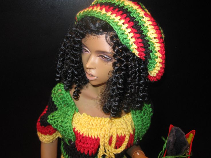 OOAK 5-piece Jamaican Rasta style hand-crafted mini dress, hat with bag, sandals (flat feet), towel for Dollmore Model F & 65+cm SD BJD by ProductionPingouine on Etsy