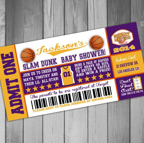 Los Angeles Lakers Inspired Basketball Baby Shower by CLaceyDesign, $15.00