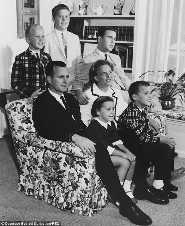The George Bush family in 1964 in Houston: (Standing left to right) Neil Jeb and George Jr and (seated left to right) George Sr, Dorothy, Ba...