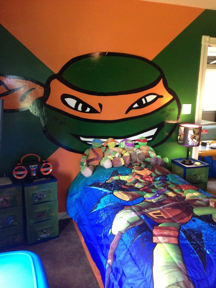 ninja turtle bedroom with handmade turtle face