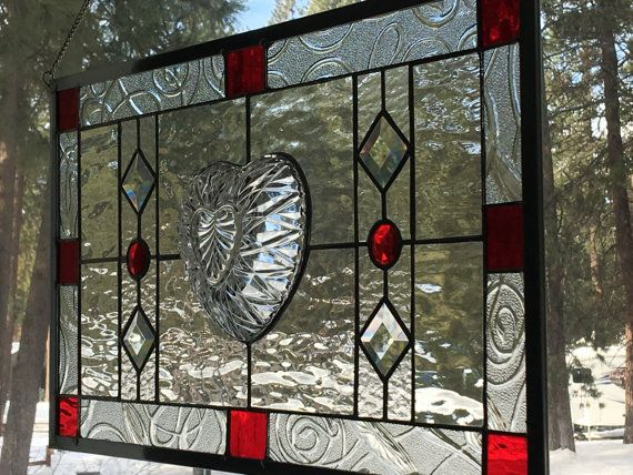 Stained Glass window with vintage heart shaped bowl bevels