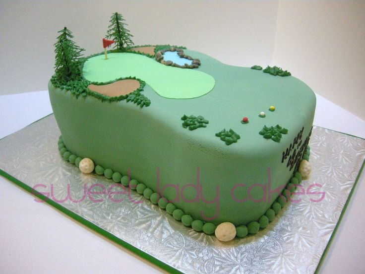 This cake was made from two 9 X 13 chocolate cakes carved to resemble a fairway on a golf course.  Everything is made of fondant and/or a 50/50 mixture of fondant and gumpaste excepting the trees and flag pole.
