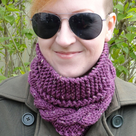 Hand Knit Plum Peruvian Wool and Donegal Tweed by ReasonablyRustic, $28.00