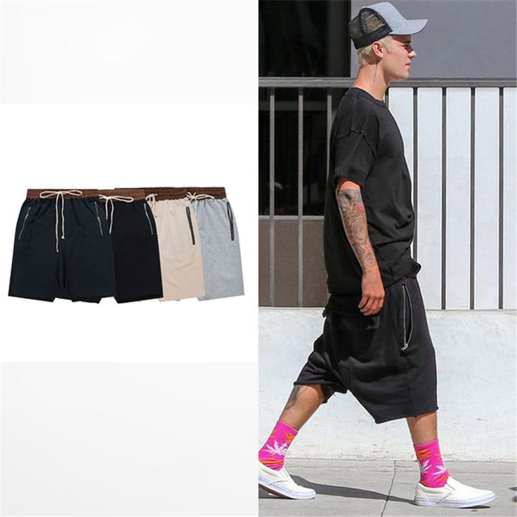 streetwear hip hop dance clothes stage for men black/grey/khaki/navy short mens stretch cotton sweat jogger shorts