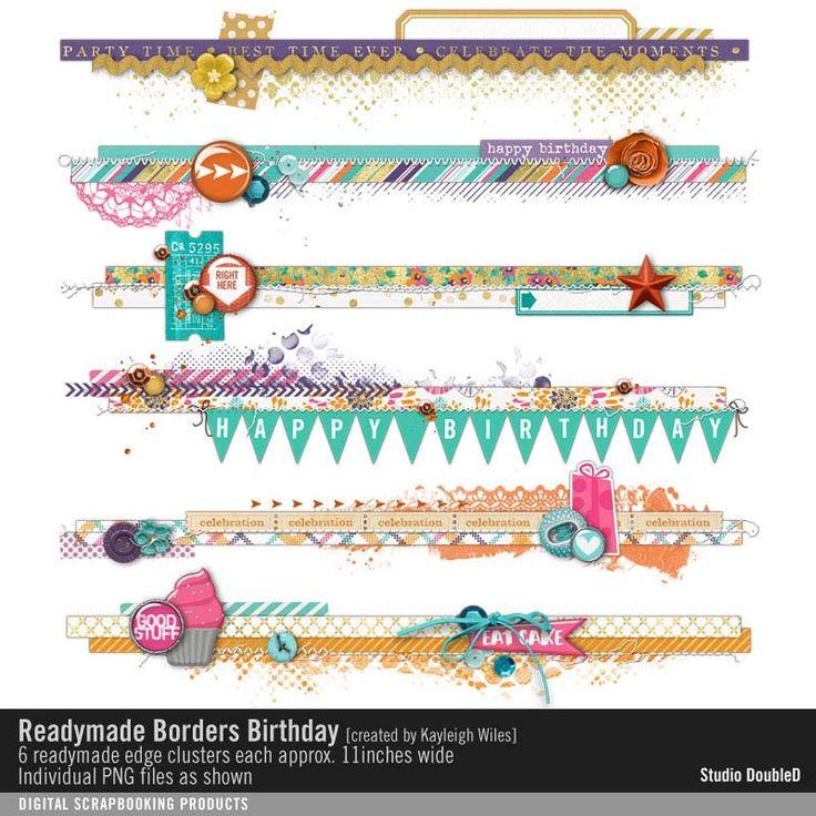Readymade Borders: Birthday scrapbook element clusters for horizontal border strips and edges #designerdigitals