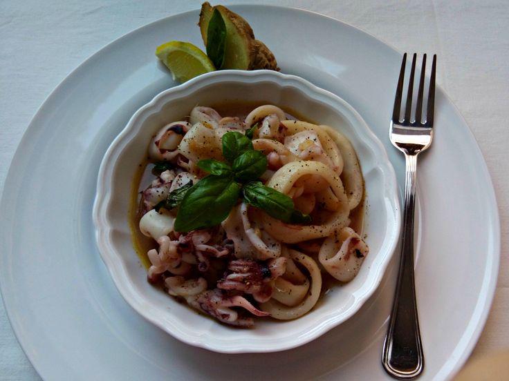 Calamari al limone, basilico e ginger