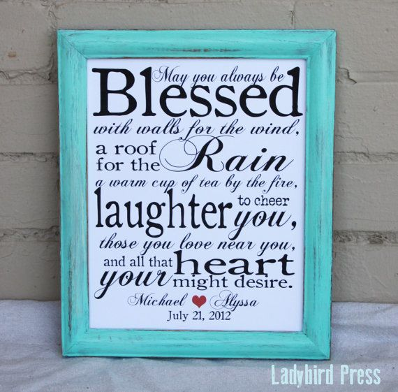 Irish Wedding Quotes: Printable Wedding Gift Print, With A Cute Irish Blessing