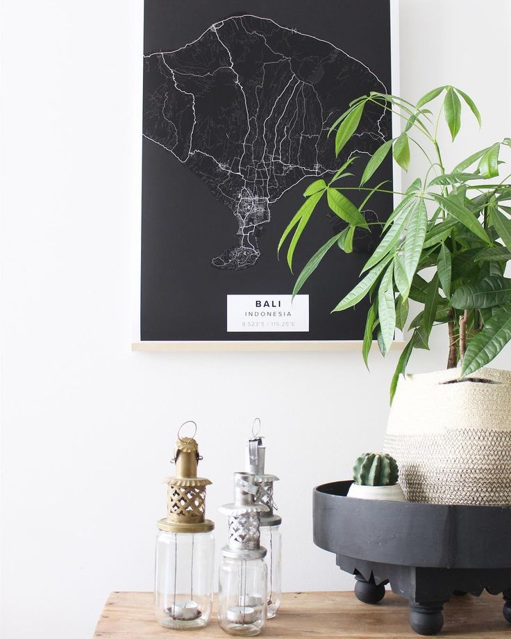 "Map poster of Bali in ""Black"" theme. Print size 50 x 70 cm available at Mapiful.com"
