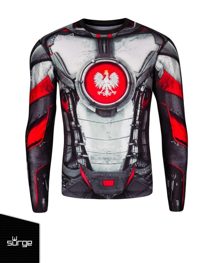 Koszulka termoaktywna Mech Grafen długi rękaw (BIAŁO-CZERWONA)   KOSZULKI \ SPORTOWE   Sklep z koszulkami Polski i odzieżą patriotyczną ● SurgePolonia