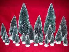 NEW LOT OF 21 FLOCKED BOTTLE BRUSH CHRISTMAS TREES FOR HOLIDAY VILLAGE DISPLAY