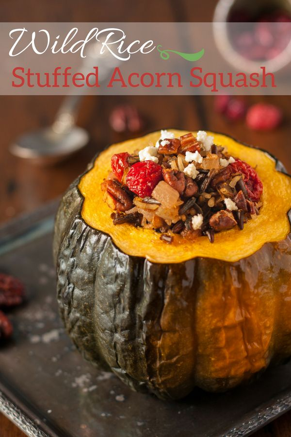 Wild Rice Stuffed Acorn Squash With Goat Cheese Pecans Dried