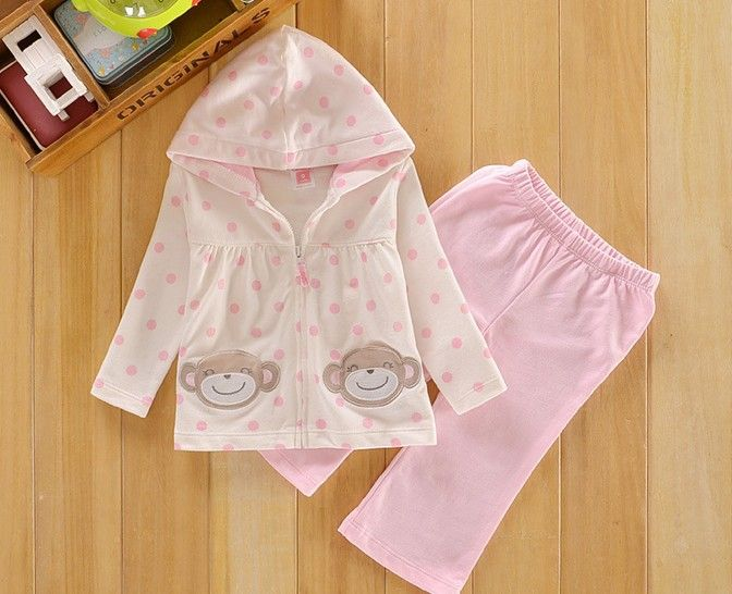 2013 free shipping Retail 1s et Top Quality!baby girl carter's casual clothing sets 2 pcs jacket+pant carter's polka dots suits  $17.30