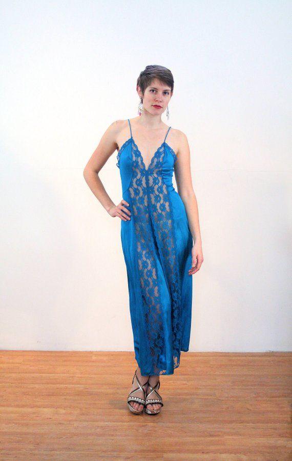 ba4c2d0c8c2 70s Sheer Lace Nightgown M