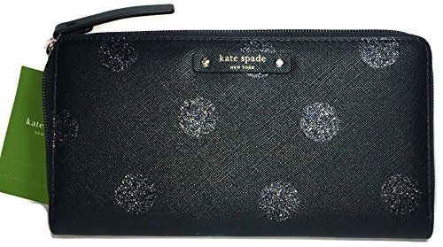 Kate Spade Haven Lane Glitter Neda zip Around Continental Wallet, Black Polka Glitter