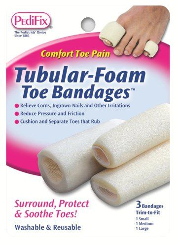 PediFix Tublar Foam Bandages - Large. PediFix's Tubular-Foam Toe Bandages surround, cushion and protect toes. The PediFix foam toe bandages relieve corns, ingrown nails and other irritations. They fit comfortable in most footwear. Available in Small, Medium, Large, or a Mixed package containing one of each size. PediFix Tubular-Foam Toe Bandages, 3 Pack Large. The soft foam tubes absorb pressure and friction to cushions and separate toes that rub. Each bandage is 3 inches long and...