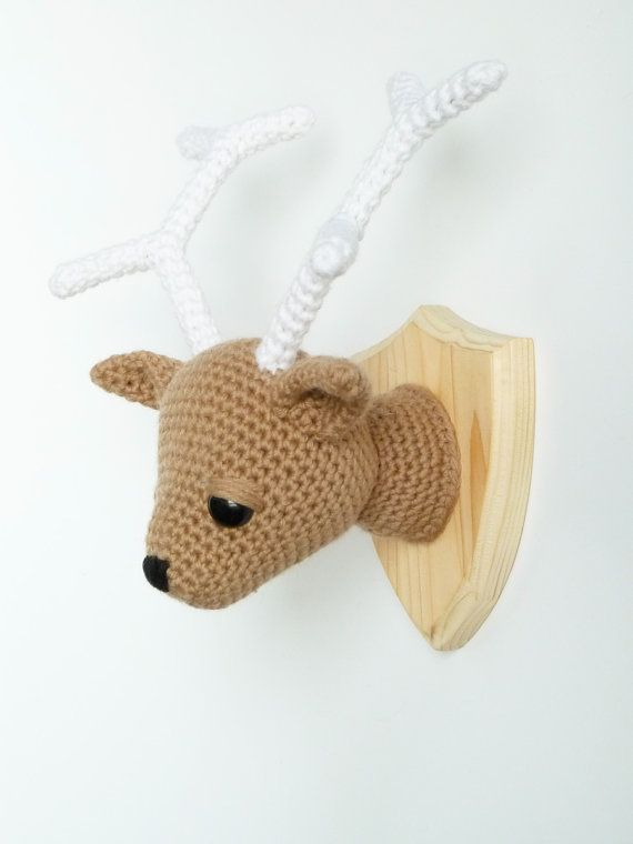 Crocheted mounted deer head faux taxidermy by CreepyandCute