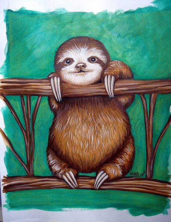 quotbaby slothquot megan mars rock painting sloth art