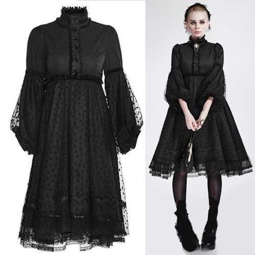 Black Lace Maxi Long Sleeve Gothic Lolita Formal Prom Party Dresses SKU-11402259