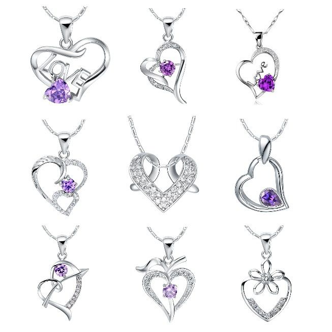 Find More Pendant Necklaces Information about Heart Pendant Crystal Necklace 925 Sterling Silver Jewelry Purple Necklaces Women White Stone Accessories Fashion Collares Ulove,High Quality necklace sweater,China jewelry armore Suppliers, Cheap jewelry boxes wholesale free shipping from ULove Fashion Jewelry Store on Aliexpress.com