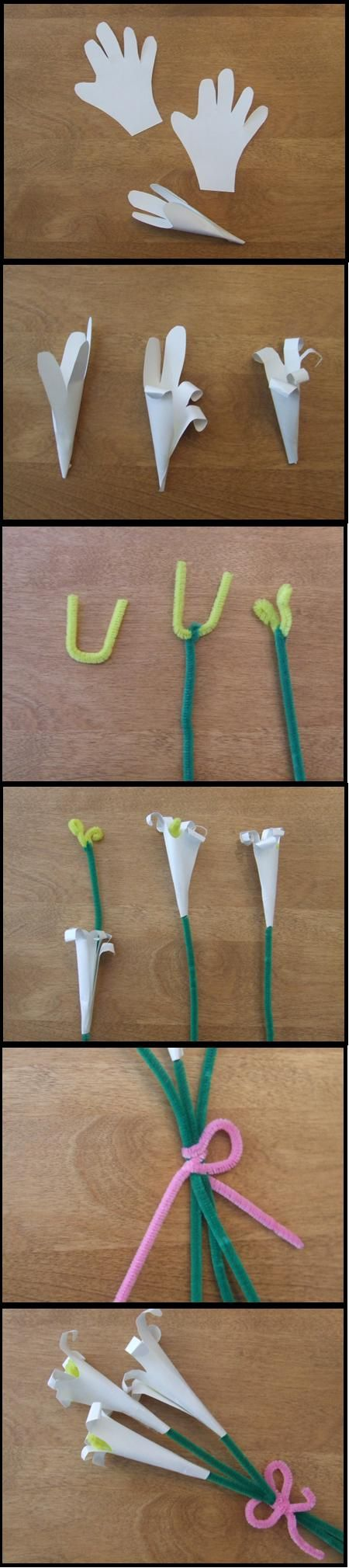 paper hand cut out Easter lily craft