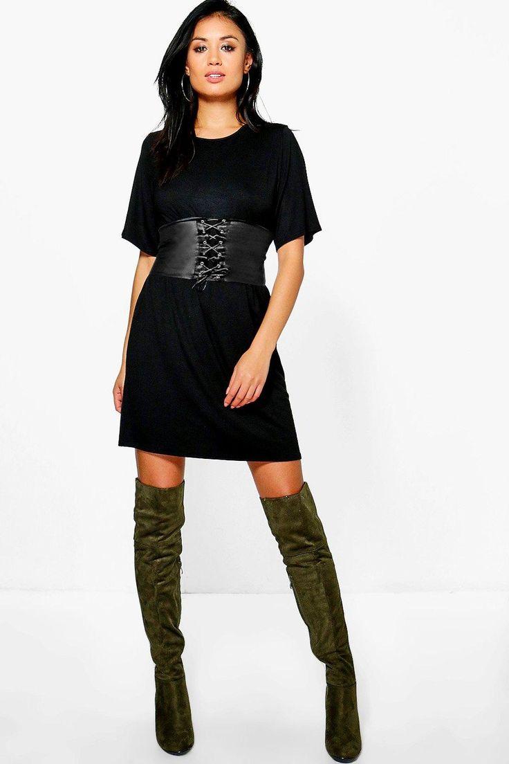Faye 2 in 1 Corset Belt T-Shirt Dress