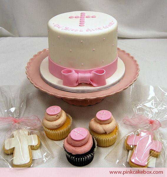Cupcake Christening Design : Dedication/Baptism cake, cupcakes, and cookies Cake ...