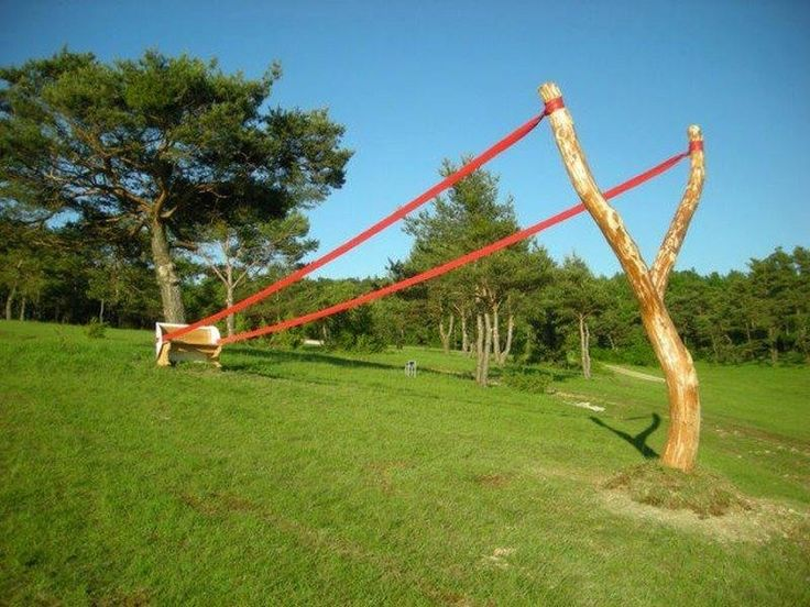 Is this the ultimate toy or a great piece of landscaping? Either way, nothing like a giant sling shot as a feature in your yard...