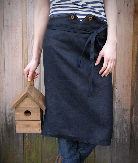 Linen Waist Apron With Wooden Buttons In Black. Ready to ship. £36.00, via Etsy.