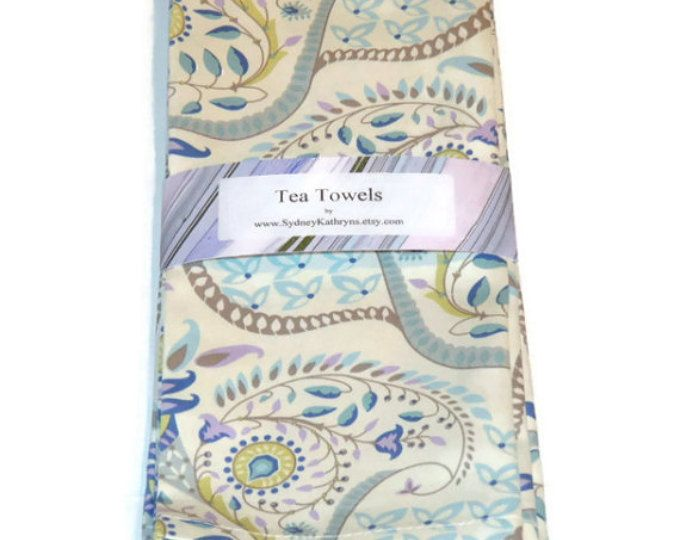 Tea Towels, Blue and White TeaTowels, Blue Vine and Swirls Tea Towels, Set of 2, Decorative Kitchen Towels
