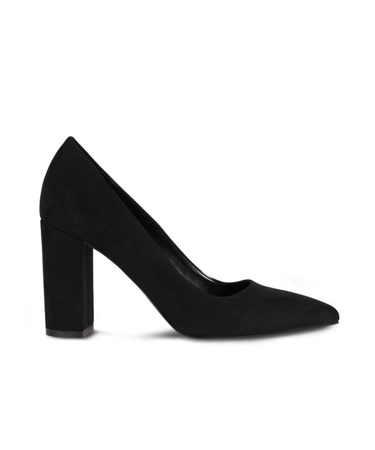 SANTE pointed toe and block heel pump for classy looks...Black