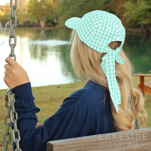 Lauren James Seersucker Checker Bow Hat in Mint | Lakeside Cotton