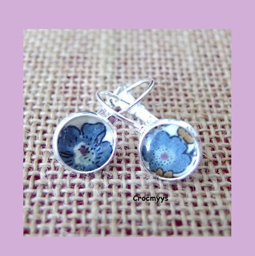 Dormeuse liberty betsy ann 10mm : Boucles d'oreille par crocmyys