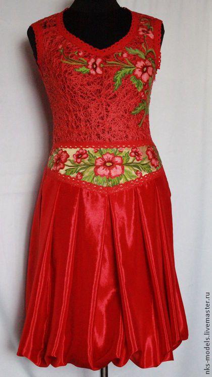 "платье "" Жар "" - крейзи-вул,пряжа,льняная ткань,вышивка ."