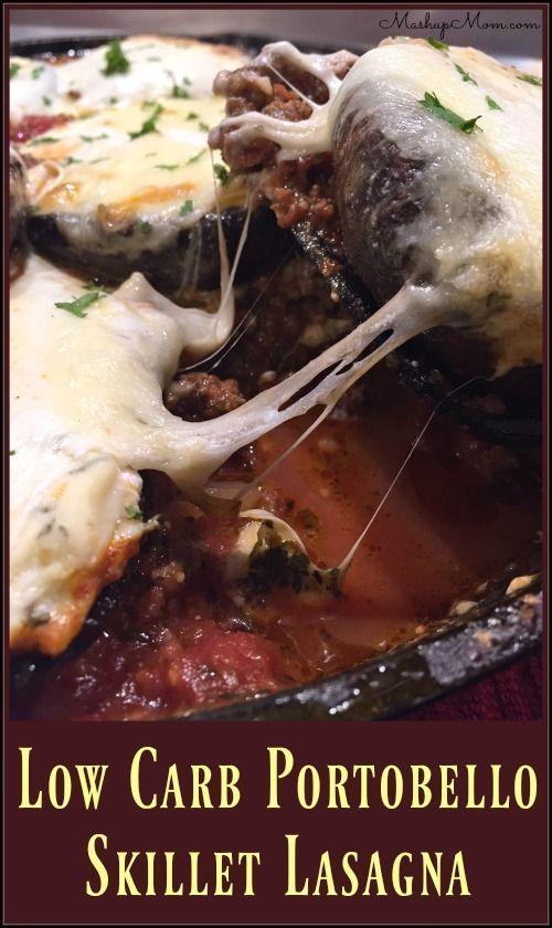 Low Carb Portobello Skillet Lasagna -- A delicious, cheesy, & gluten free cast iron skillet recipe! http://www.mashupmom.com/low-carb-portobello-skillet-lasagna/
