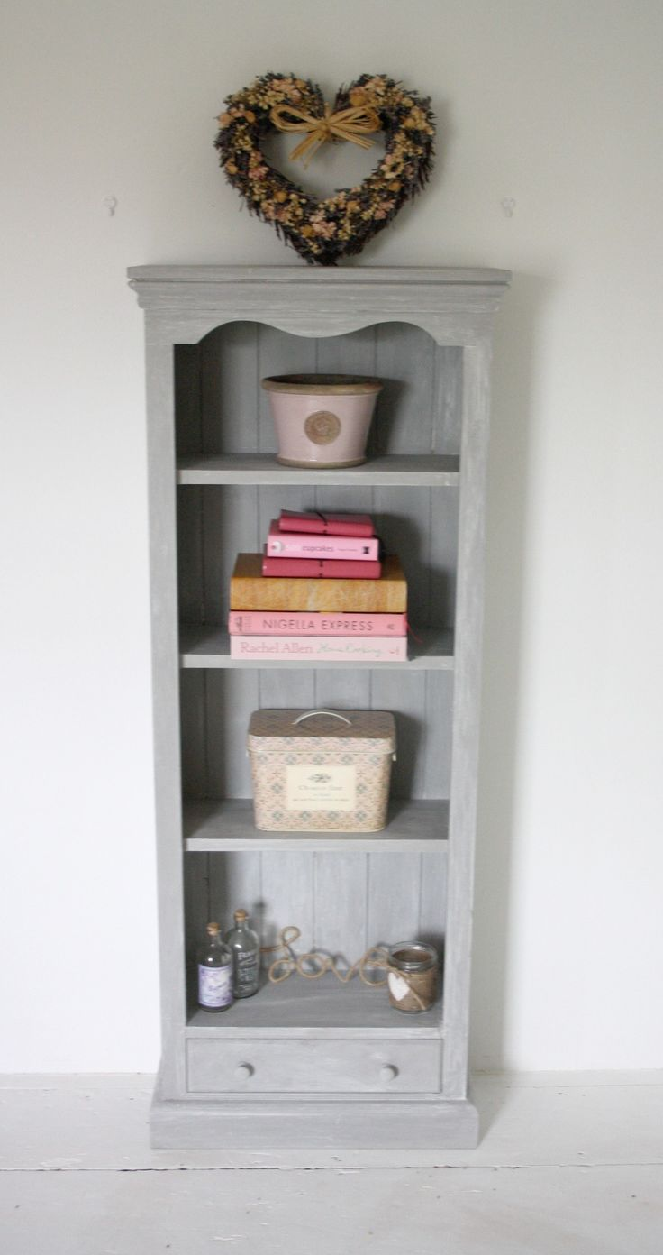 Solid Pine Bookcase painted in Paris Grey by Annie Sloan and given a white wax. £85.00