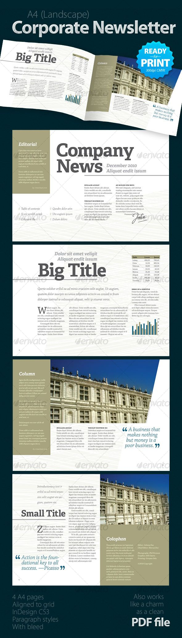 Corporate Newsletter (4 pages) - Newsletter Template InDesign INDD. Download here: http://graphicriver.net/item/corporate-newsletter-4-pages/124051?s_rank=469&ref=yinkira