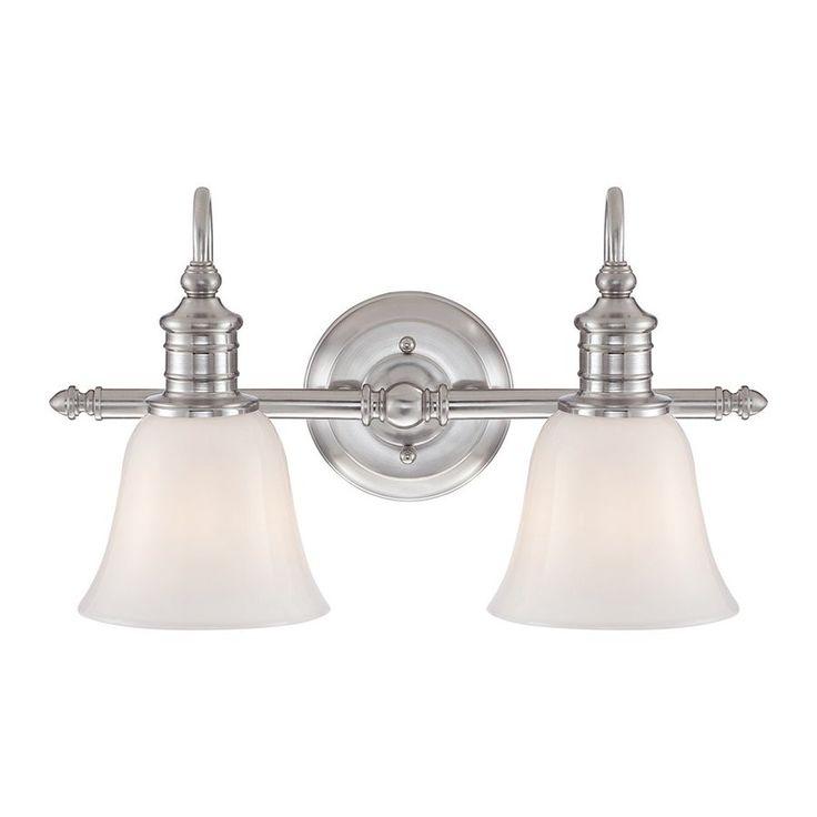 $160 Quoizel Broadgate 2-Light Brushed Nickel Bell Vanity Light Bar