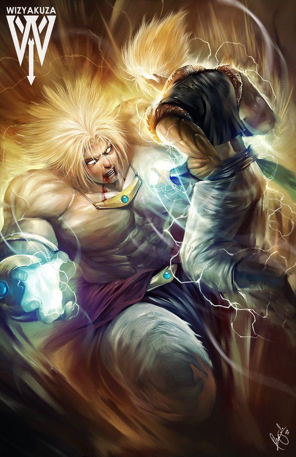 10 ilustrações de animes por WIZYAKUZA - Broly vs Fusão de Goku e Vegeta