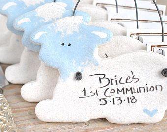 Baptism Lambs Salt Dough Favors Personalized Boy Baptism Favors Girl Baptism Favors Salt Dough Lambs Set of 10
