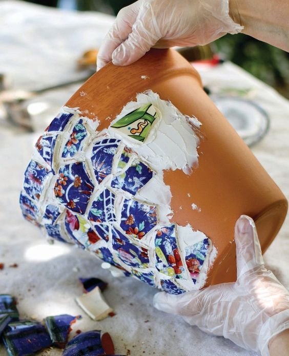 How to make a mosaic vase. Mosaic Flower Pots - Step 6