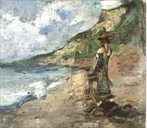 Gheorghe Petrascu - Femeie privind marea