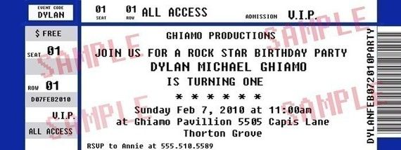 Concert Ticket Party Invitation/ Rock Star Birthday by Midwestprep, $10.00