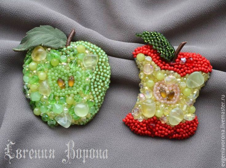 Купить Яблочко, брошь - разноцветный, красный, зеленый, яблоко, брошь яблоко, яблоки из бисера, яблочко Евгения Ворона (EvgeniaVorona)