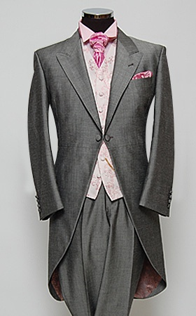 William Hunt grey morning suit with pink vine waistcoat & candy floss accessories