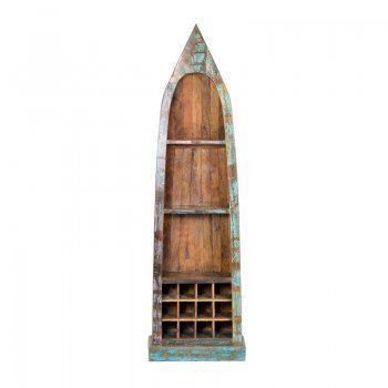 Kast met wijnrek Lavis Otar | kast van gerecycled hout | oud hout kast | vintage stijl | boot tot kast
