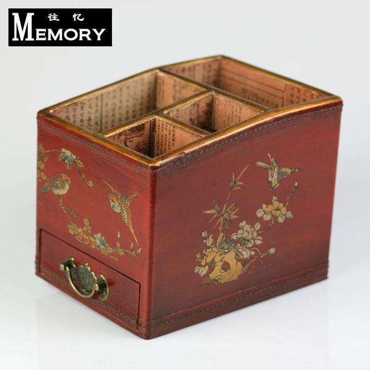 Çekmece Kırmızı antika ahşap uzaktan kumanda kutusu Çin tarzı el yapımı eski fonksiyonlu masaüstü saklama kutusu