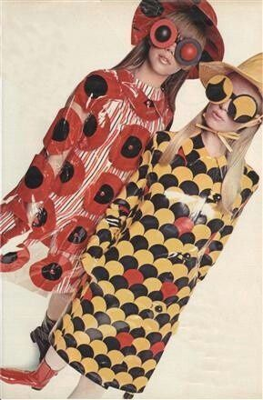 60's Raincoats. mod red yellow black plastic color photo print ad models